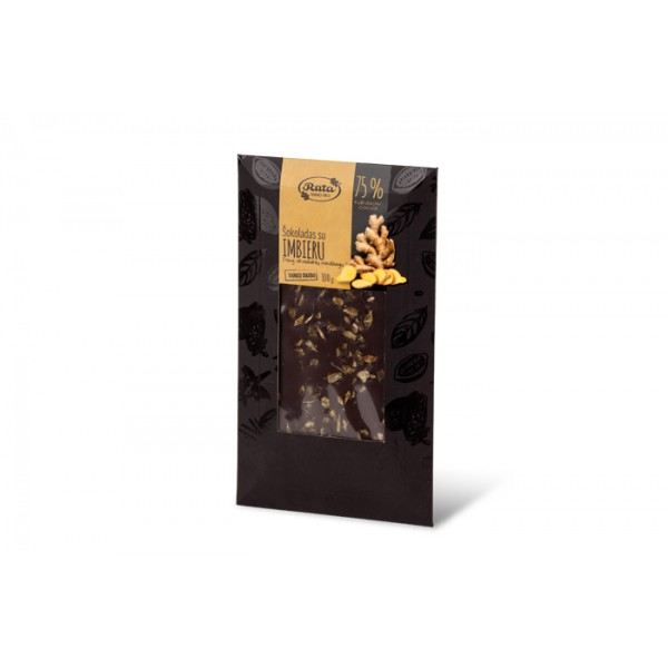 Chocolate 75% with ginger, 100 g